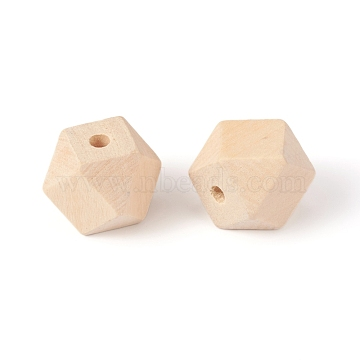Natural Wood Beads, Square Cut Round Beads, BurlyWood, 19.5~20x25.5x25.5mm, Hole: 4.5mm(X-WOOD-E010-01C)