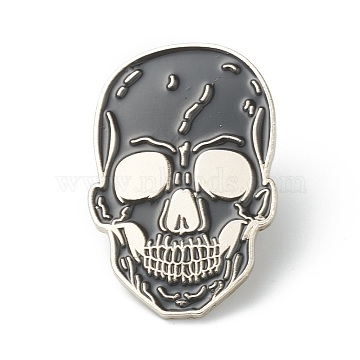 Alloy Enamel Brooches, Enamel Pin, for Halloween, with Butterfly Clutches, Skull, Black, Platinum, 32.5x21.5x10mm, Pin: 1.2mm.(JEWB-G009-11S)