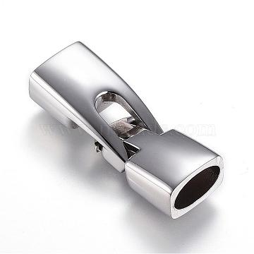 304 Stainless Steel Snap Lock Clasps, Stainless Steel Color, 37x13x8.5mm, Hole: 10.5x6mm(STAS-D159-05)