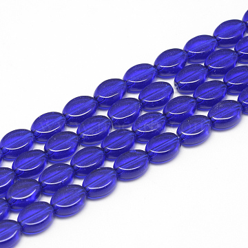 13mm MediumBlue Oval Glass Beads