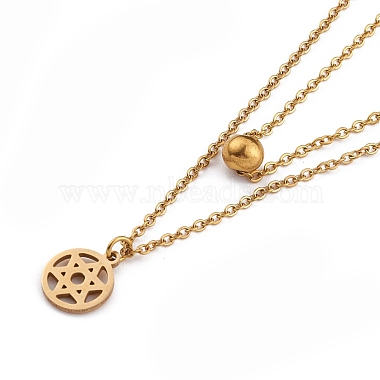 304 Stainless Steel Double Layer Necklaces(NJEW-F280-14)-2