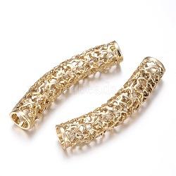 perles de tubes en alliage, plaqué longue durée, courbé, creux, or, 51x10 mm, trou: 7 mm(PALLOY-G131-45G-AAA)