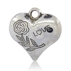 Пластмассовые подвески ccb, сердце резные розы и слово любовь valentine'day, античное серебро, 40x41x14 мм, отверстие : 5 мм(CCB-J027-44AS)