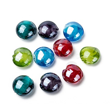 Handmade Lampwork Beads, Pearlized, Flat Round, Mixed Color, 16x8mm, Hole: 1.5mm(X-LAMP-S010-16mm-M)