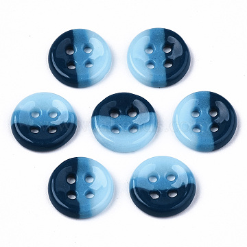 4-Hole Handmade Lampwork Sewing Buttons, Tri-colored, Flat Round, Marine Blue, 11.5x2.5mm, Hole: 1.2mm(BUTT-T010-02A)