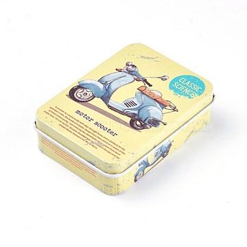 Mini Cute Tinplate Storage Box, Jewelry Box, Candy Box, Rectangle with Electrocar  Pattern, Yellow, 9.5x6.9x2.6cm(CON-WH0061-A03)