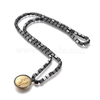 Column Magnetic Synthetic Hematite Necklaces(NJEW-M182-02)-3