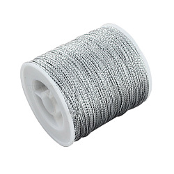 1mm Jewelry Braided Thread Metallic Cords, Silver, 100m/roll(MCOR-S002-02)