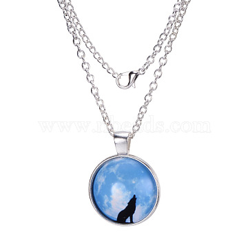 Wolf Pattern Flat Round Glass Pendant Necklaces, with Alloy Chains, Silver, 18 inches(X-NJEW-N0051-013C-02)