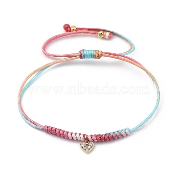 Adjustable Rainbow Polyester Thread Braided Bead Bracelets, with Brass Beads and Brass Micro Pave Cubic Zirconia Charms, Heart, Golden, Inner Diameter: 5/8 inch~3-3/8 inches(1.6~8.5cm)(BJEW-JB05419-01)