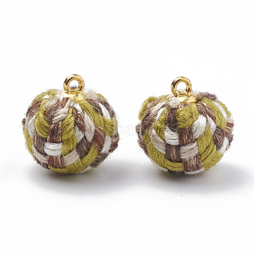 Handmade Cloth Fabric Covered Pendants, with Golden Tone Alloy Findings, Round, YellowGreen, 16~18x14~15mm, Hole: 1.5mm(X-WOVE-N006-17E)