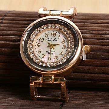 Golden Tone Flat Round Alloy Rhinestone Quartz Watch Face Watch Heads, with Stainless Steel Back, Golden, 40.5x27.5x8mm(WACH-F009-03)