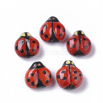 Handmade Porcelain Beads, Famille Rose Style, Ladybug, Red, 15.5~17x15~16x9~10mm, Hole: 1.6~2mm(X-PORC-N004-06)