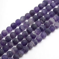 Frosted Natural Amethyst Round Bead Strands, 6mm, Hole: 1mm; about 63~65cps/strand, 14.9~15.6inches