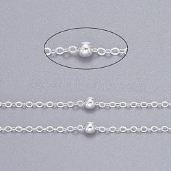 chaînes de câble en laiton, chaînes satellites, avec des billes rondes, non soudée, avec bobine, plat ovale, sans cadmium et sans nickel et sans plomb, argent, 2.2x1.7x0.23 mm, perle: 3.5 mm(X-CHC018Y-S-NR)