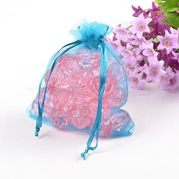 12x10cm Skyblue Christmas /Wedding Drawable Organza Gift Packaging Bags(X-OP080Y-5)