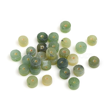 Natural Canadian Jade Beads, Heishi Beads, Frosted, Flat Round/Disc, 3.5~4.5x2.5mm, Hole: 0.8mm(G-I274-08A)