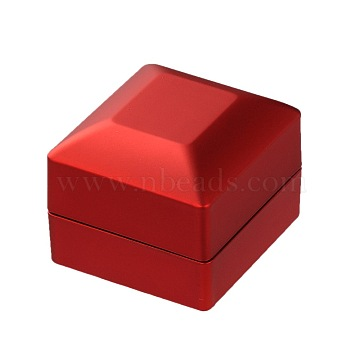 Valentines Day Gifts Packaging Wood Finger Ring Boxes, with LED, Square, Red, 64x65x50mm(OBOX-O001-12)