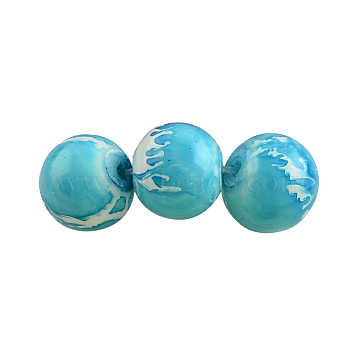 Baking Painted Round Glass Beads Strands, Dark Turquoise, 6mm, Hole: 1.3~1.6mm, about 133pcs/strand, 31.4 inches (X-DGLA-S084-6mm-57)