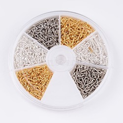 1 boîte trois couleurs fer vis oeil broche cheville bails, pour la moitié de perles percées, or, argent et platine couleur, 10x4x1mm, trou: 2mm; environ 100pcs / centainer, environ 600 pcs / boîte(IFIN-JP0001-02)
