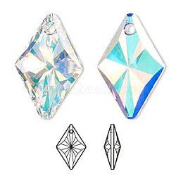 strass cristal autrichien, 6320, passions de cristal, facettes, Pendentif losange, 001 ab_crystal ab, 14x9x5 mm, trou: 1 mm(X-6320-14mm-001AB(U))
