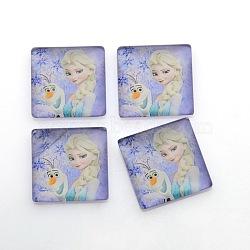 Bande dessinée fille photo verre cabochons carrés, lilas, 10x10x4mm(GGLA-N001-10mm-E04)