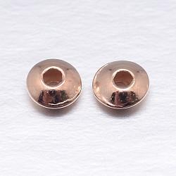 Véritable plaqué or rose rondes séparateurs perles plat en argent sterling, 5x2.5mm, trou: 1.6 mm; environ 190 pcs / 20 g(STER-M103-01-5mm-RG)