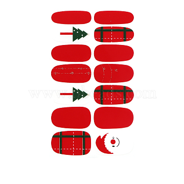 Full Cover Nail Art Stickers, Self-adhesive, For Nail Tips Decorations, Christmas Style, Red, 10x5.5cm(MRMJ-Q055-291)