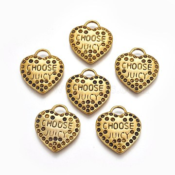 Heart Alloy Pendant Rhinestone Settings, Lead Free and Cadmium Free, Antique Golden, about 26mm long, 23mm wide, 1.5mm thick, hole: 4mm(PALLOY-ECC097Y-AG)