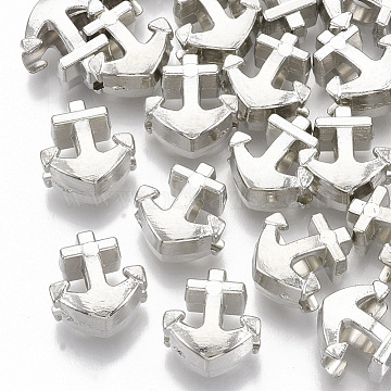 Plating ABS Plastic European Beads, Large Hole Beads, Anchor, Platinum, 13.5x12x7.5mm, Hole: 4.5mm(X-KY-T019-15)