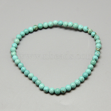Dyed Synthetic Turquoise Beaded Stretch Bracelets, Turquoise, 2-1/8inches(54mm)(X-BJEW-Q689-47)