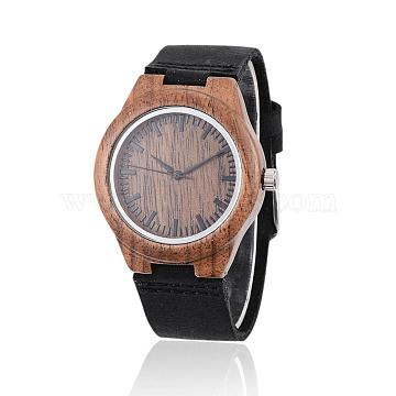 Wood Wristwatches, Women Electronic Watch, with Leather Watchbands and Alloy Findings, Black, 240x22x2mm; Watch Head: 45x39x12mm; Watch Face: 31mm(WACH-H038-16)