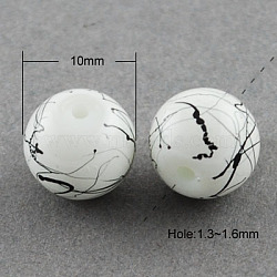 Drawbench Glass Beads Strands, Round, White, 10mm, Hole: 1.3~1.6mm, about 80pcs/strand,  31.4inches(X-GLAD-S074-10mm-74)