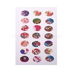 Scrapbooking bricolage conception de motif floral autocollants non-adhésives collage feuilles de papier pour cabochons de verre ovale claires, couleur mixte, 18x13 mm; environ 21~28 pcs / carte(X-AJEW-L029-04)