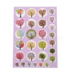 Bouteille de scrapbooking bricolage caps arbre de non-adhésifs autocollants en papier feuilles de collage de motifs de vie pour clairement plats ronds pendentifs cabochon de carreaux de verre, couleur mixte, 20mm, 10 mm; environ 15~31 pcs / carte(AJEW-L024-02)