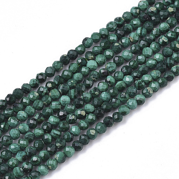 Natural Malachite Beads Strands, Faceted, Round, 2mm, Hole: 0.3mm, about 133~134pcs/strand, 15.16 inches(38.5cm)(G-S361-2mm-001)