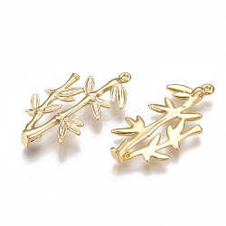 pendentifs en laiton, pour perle à moitié percée, bambou, réel 18 k plaqué or, 30x15.5x4 mm, trou: 1 mm(KK-T038-56G)