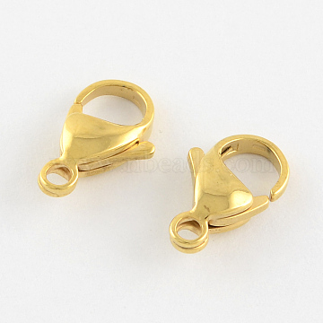 304 Stainless Steel Lobster Claw Clasps, Manual Polishing, Real 18K Gold Plated, 9x5x2.5mm, Hole: 1mm(X-STAS-R050-9x5mm-02)