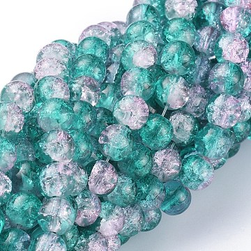 Crackle Glass Beads Strands, Round, Dark Cyan, 8mm, Hole: 1.3~1.6mm, 31.4 inches(X-CCG-Q002-8mm-06)