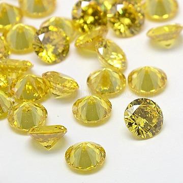 Cubic Zirconia Cabochons, Grade A, Faceted, Diamond, Light Khaki, 8x4.6mm(ZIRC-M002-8mm-003)