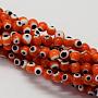 6mm Orange Rond Lampwork Perles(LAMP-L055-6mm-03)