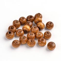 крашеные натуральные деревянные бусины, вокруг, хороший подарок на День детского делает, свинца, кофе, размер: около 7 mm в диаметре, отверстия: 1.5 mm(X-TB092Y-11)