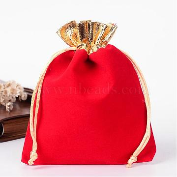 Rectangle Velvet Jewelry Bag, Red, 14x11cm(TP-R001-12x15-02)