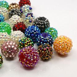 Бусины со стразами из смолы, DIY материал для изготовления ювелирных изделий, круглые, разнообразные, разноцветные, 10~20 мм, отверстие : 2.5 мм(RESI-MSMC004-03)