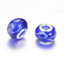 Perles européennes rondes vernissées à gros trou, avec des noyaux de laiton de ton argent, bleu, 13~14x10~11mm, Trou: 5mm(X-LPDL-R003-01G)