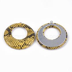 Pendentifs en similicuir, avec fond en aluminium, plat rond, platine, or, 43.5x40.5x5mm, Trou: 1.2mm(WOVE-S118-07K)