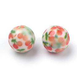 Perles acryliques imprimés opaques, rond avec motif cerise, corail, 11.5~12x11mm, Trou: 2.5mm(MACR-S271-12mm-25)