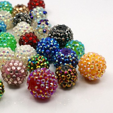 16mm Mixed Color Round Resin + Rhinestone Beads