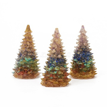 Natural & Synthetic Gemstone Home Display Decorations, with Resin and Glitter Powder, Christmas Tree, 92x52mm(DJEW-I013-A02)