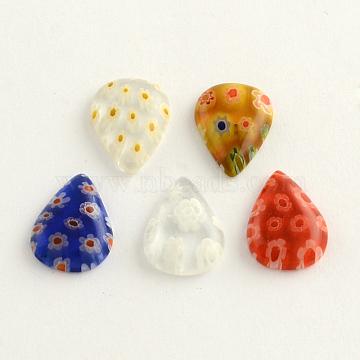 Handmade Millefiori Glass Cabochons, teardrop, Mixed Color, 14x10x3mm(LK-R006-06)